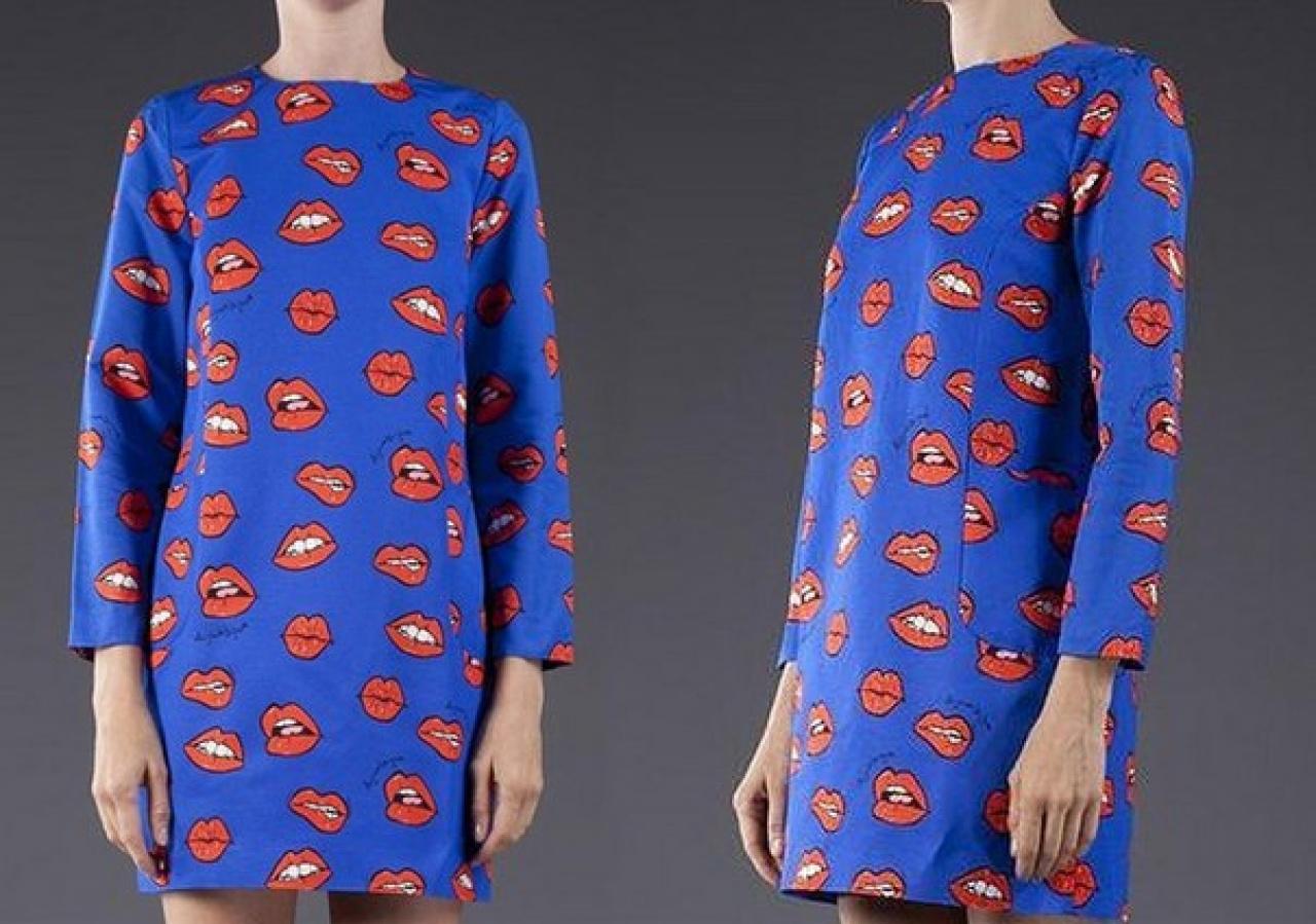 Платье синие с красными губами